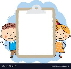 Cute cartoon kids frame vector image on VectorStock Cartoon Kids, Cute Cartoon, Teaching Kids, Kids Learning, Kids Background, School Frame, School Clipart, Quilt Labels, School Decorations