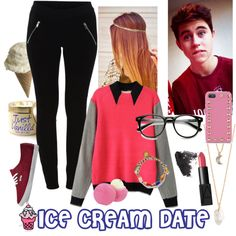 Ice Cream date /Nash Grier by gracekeimah on Polyvore featuring Chicnova Fashion, VILA, Vans, Venessa Arizaga, With Love From CA, Valentino, Skinnydip, NARS Cosmetics, Topshop and Eos