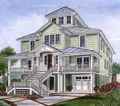 Beach House Plan with Cupola - 15033NC   Beach, Cottage, Low Country, Narrow Lot, 2nd Floor Master Suite, CAD Available, Elevator, PDF   Architectural Designs