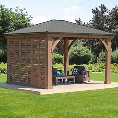 The pergola kits are the easiest and quickest way to build a garden pergola. There are lots of do it yourself pergola kits available to you so that anyone could easily put them together to construct a new structure at their backyard. Backyard Pavilion, Backyard Gazebo, Backyard Patio Designs, Outdoor Pergola, Pergola Designs, Pergola Plans, Pergola Ideas, Pergola Lighting, Patio Ideas