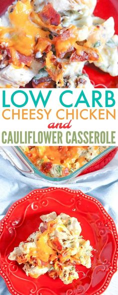 This low carb cheesy chicken and cauliflower casserole recipe will make you forget that you are eating low carb. It's hearty, filling, & best of all, yummy. via @730sagestreet