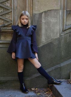 Dark grey fine cotton corduroy romper dress, with ruffles. Perfect for school, perfect for play! 100% cotton, by Airfish