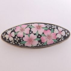 VINTAGE TOSHIKANE ARITA ERA JAPAN HAND PAINTED PORCELAIN CHERRY BLOSSOM BROOCH #Unbranded