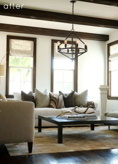 How to update dark wood window and door trim with the right paint colour and decor including gray, green and blue paint colours