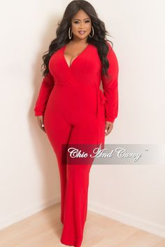 6d239ccabb57 Final Sale Plus Size Long Sleeve Faux Wrap Jumpsuit with Attached Tie in Red
