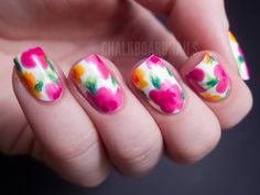 China Glaze Summer Neons Nail Art: Hawaiian Floral