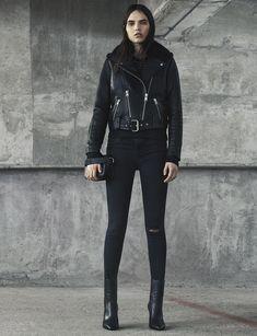 AllSaints Women's November Lookbook Look 5: Rigby Biker, Mast Knee Destroy, Junai Small Clutch, Xain Boot.