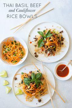 Fresh Thai flavors combine in Thai Basil Beef and Cauliflower Rice Bowls, a…