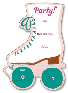 Roller Skating Kids Fill-in Birthday Party Invitations