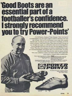 England manager Alf Ramsey endorsing Power Points Football Boots in Soccer Boots, Football Boots, Football Team, Sir Alex Ferguson, England Football, Football Design, Vintage Football, Team Player, Suits