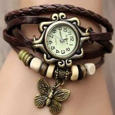 Top Seller Newest Lady Fashion Weave Wrap Around Retro Leather Bracelet Watch!vintage Genuine Leather Bracelet Watch for Ladies! Butterfly Bracelet, Butterfly Pendant, Bohemian Accessories, Fashion Accessories, Viktorianischer Steampunk, Steampunk Fashion, Fashion Goth, Fashion Trends, Kleidung Design