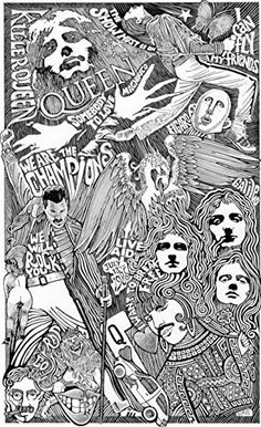 Queen Band Rock and Roll - Inspired Letterpress Art Print Poster -Detailed Pen and Ink Original Hand Draw Queen Band, Pop Rocks, Queen Drawing, Rock Band Posters, Queen Poster, Queens Wallpaper, Queen Tattoo, Queen Aesthetic, Band Wallpapers