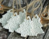 Set of 5 .  Christmas Tree Ornaments . Primitive White Clay . Christmas Ornaments