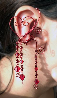 Queen Of Hearts Ear Cuff/Wrap Red Fantasy Jewelry by alyssblackapparel, $15.00