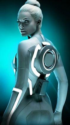 Beau Garrett as Gem in Tron Legacy. Tron Legacy, Beau Garrett, Frank Herbert, Pin Up, Bd Comics, Cyberpunk Art, Cyberpunk Character, Ex Machina, Sci Fi Characters