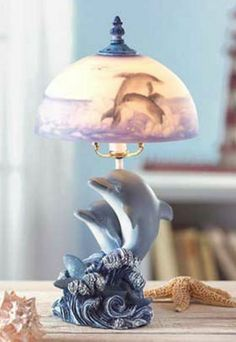 Dancing Dolphin Lamp Frosted Glass Shade Kids Lamp Marine Lamp Nautical Lamp http://stores.ebay.com/Aarons-Home-Deals