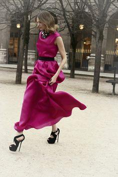 Christian Dior....Pre Fall 2012  Mulberry After Five Evening Dress  Waist -cinching Black Belt