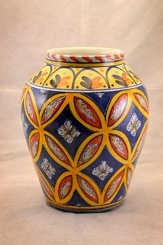 Talavera Style Ceramica Pottery Company Jardinere Vase Hand Painted Peru | eBay