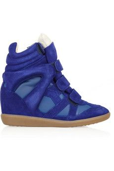 Isabel Marant Burt leather and suede concealed wedge sneakers | THE OUTNET