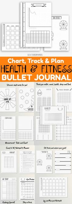 Health and Fitness Bullet Journal ~ A variety of pages dedicated to keeping track of food, sleep, exercise, water, mood and habits. Places to record your goals and measurements. Pages dedicated to challenging yourself. All pages are on a dotted grid 5mm in size. Bujo fitness tracker and health journal. Fitness planner printable. Instant Download #affiliate #fitnessgoals #bulletjournalcollection #bujoprintable