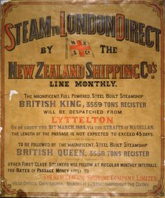 Shows arrangement of text, with the New Zealand Shipping Company's flag. Extended Title - The magnificent, full powered, steel built steamship Br. Line, New Zealand, Tourism, Advertising, Ship, London, News, Day, Turismo