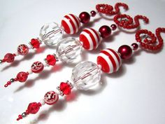 Deluxe Beaded Icicle Ornaments in Bright Red on Beaded Spiral Ornament Hangers - 3 Christmas Red & Clear Beaded Icicle Christmas Ornaments