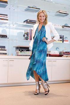 """An exotic print paired with a crisp white blazer.""  -Lubov Azria  #BCBG #LubovAzria #LOD"