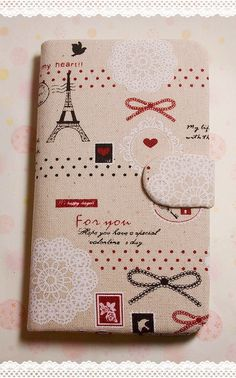 Diy Handmade Cloth Art Flip Cover Case ii. Eiffel Tower with lace and bow (horizontal) for Samsung Galaxy Note 2 S3 S2 S iPhone 4 4S 5. $29.99, via Etsy.
