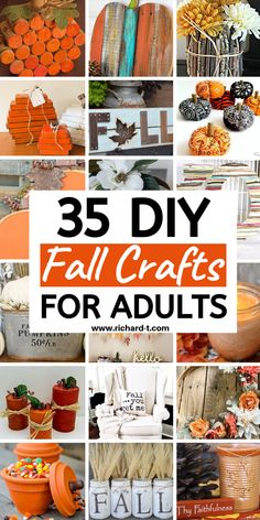 35 Easy DIY Fall crafts for adults! These Fall crafts are perfect for adults and look AMAZING! Fall Crafts For Adults, Easy Fall Crafts, Thanksgiving Crafts, Diy Crafts To Sell, Holiday Crafts, July Crafts, Kids Crafts, Cool Diy, Easy Diy