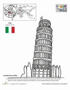Color the World! The Leaning Tower of Pisa Worksheet