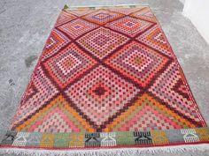 "$425 Geometric Old Oushak  Kilim Rug Area Rug Large rug Kelim  Carpet  72 "" x 117 "" Vintage Fllor Rug"
