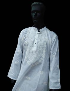 Fall finds White cotton long tunic Mens by KurtiTunicbyBhagya