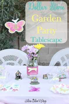 Throw a gorgeous spring garden party with findings and decorations from the dollar store! This is perfect for birthday parties or Easter brunch! http://sweetteaandsavinggraceblog.com/dollar-store-garden-party-tablescape/?utm_campaign=coschedule&utm_source=pinterest&utm_medium=Sweet%20Tea%2C%20LLC%20%20%7C%20%20Blogging%20and%20Email%20Marketing&utm_content=Dollar%20Store%20Garden%20Party%20Tablescape