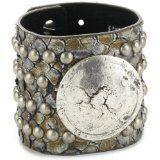 "Streets Ahead 2.25"" Gunmetal Snake Embossed Leather Cuff Bracelet"