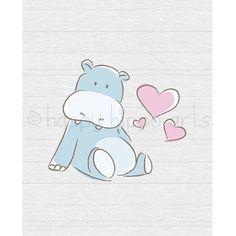 Baby Hippo with Hearts Nursery Art Print Kids by HappyHippoArts