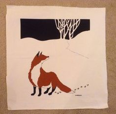 """MARUSHKA Red Fox in the Night 18"""" x 21"""" Vintage 1971-1989"""