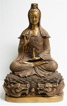 "kwan yin in thailand | Kwan Yin Seated on Dragon and Lotus Pedestal, 18"" - 23 lbs! Have one myself, my favorite"