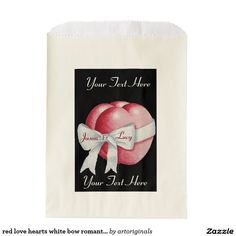 Browse Zazzle for a variety of wedding favor bags. Start shopping our great selection & find a design for your favor bags today! Romantic Wedding Favours, Wedding Favor Bags, Red Love Heart, Hearts, Ribbon, Bows, Color, Tape, Arches