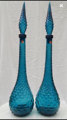 Vintage glass genie bottle pair with labels Colored Vases, Images Of Colours, Genie Bottle, Beautiful Perfume, Decanter, Vintage Decor, Glass Art, Perfume Bottles, Heaven