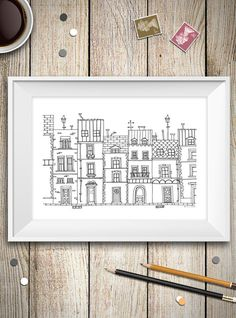 Black and white city poster Paris wall art by aCupOfCreativity