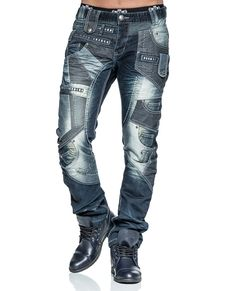JAPRAG dark blue jeans. Bold details. Decorative pockets, rivets and decorative seaming in front. Two front and rear pockets. Button closure. Material 100% cotton