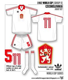 Czechoslovakia away kit for the 1982 World Cup Finals.