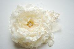RESERVED-Ivory-champagne romantic rose-Weddings Accessories Hair Bride Bridesmaids-Silk,burlap,organza flowers. $22.00, via Etsy.