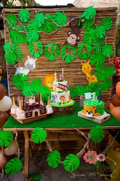 Best baby shower ideas safari theme first birthdays ideas Safari Theme Birthday, Monkey Birthday Parties, Jungle Theme Parties, Safari Birthday Party, Baby Boy 1st Birthday, Jungle Party, Hawaiian Party Decorations, Jungle Decorations, Birthday Party Decorations