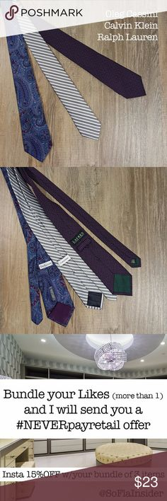 "Set of 3 brand name 100% silk ties Pre-owned. Excellent condition. No sign of stains, tears or flaws. No creases or wrinkles. Steam cleaned. Oleg Cassini: Width 3.5"" / Length 56"" Calvin Klein: Width 3.75"" / Length 62"" Ralph Lauren: Width 3.5"" / Length 58"" Images represent exactly how product looks like. Ships within 24 hours after purchasing. BUNDLE AWAY AND SAVE! Lauren Ralph Lauren Accessories Ties"