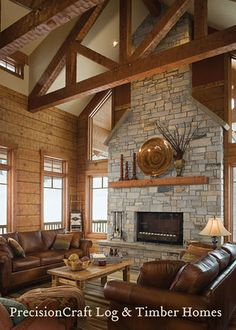 Timber Frame Home Great Room by PrecisionCraft Log Homes by PrecisionCraft Log Homes & Timber Frame, via Flickr