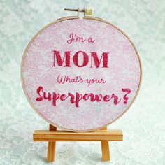 Funny Quote on Motherhood Embroidery Hoop Wall by ShabbySugarplum