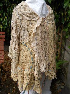 Auth RitaNoTiara w magnolia bow Osfa prairie shabby chic Jacket coat lagenlook made in england art to wear artsy Vintage crochet tea pearl