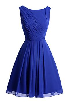 KAMA BRIDAL Kneelength Scoop Pleated Aline Chiffon Bridesmaid Party Dress US4 Royal Blue *** Click image for more details.
