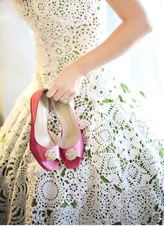crocheted dress and pink heels